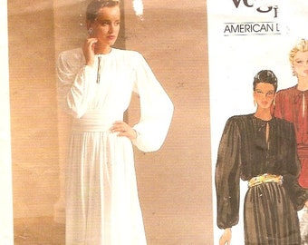 80s Flowing Gown Designer Brides Mother of the bride Wedding Vintage sewing pattern Vogue 1263 Calvin Klein Size 8 UNCUT