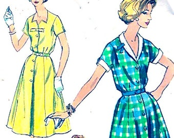 1960s shirt waist dress vintage sewing pattern Simplicity 2847 Bust 40 Retro style frock