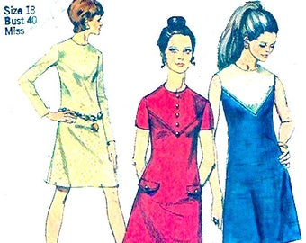 70s Mod dress Spring summer retro style vintage sewing pattern Simplicity 8878 Bust 40 UNCUT