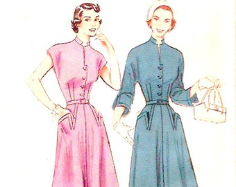 50s Tailored dress Butterick 5760 summer frock Circa 1950s vintage sewing pattern Butterick 5760 Small Bust 30