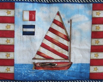 Gone Sailing Fabric Nautical Compass Sailor Yardage quilting home decor Stephanie Marrott Wilmington Prints Cotton or Cotton blend
