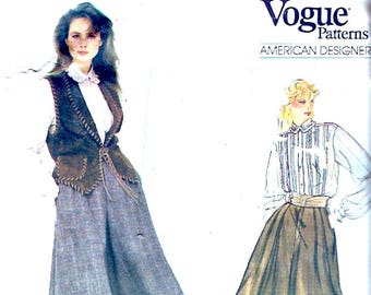 American Designer Culottes Blouse vest Ralph Lauren Vogue 2982 Autumn Winter Size 12 sewing pattern Uncut