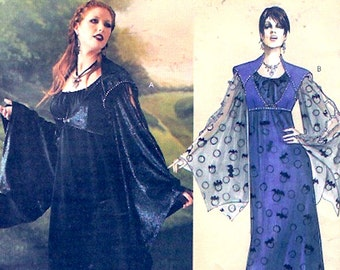 Gothic Princess Costume Floor length gown dress with bell sleeves McCalls 4089 sewing pattern Sz 6 to 12 UNCUT
