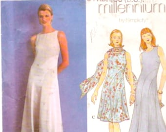 4c4c6c302871a Evening Gown scarf sleeveless Cocktail dress Simplicity 8600 Millenium  sewing pattern 3 Sz 16 to 20 UNCUT