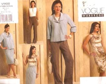 Vogue 1100 wardrobe sewing pattern jacket top skirt pants dress Size 6 to 12 UNCUT