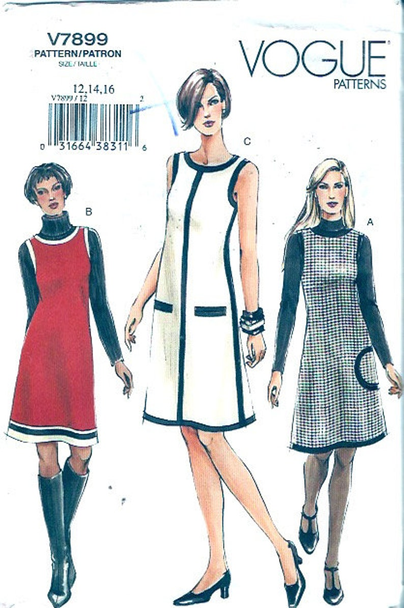 Mod bridesmaid dress Retro Flared frock and jumper sewing pattern Vogue 7899 Size 12 to 16 UNCUT