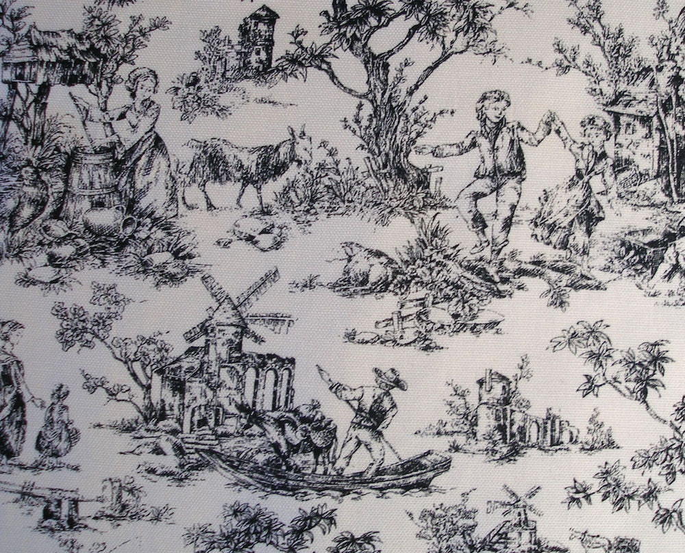 Black white toile French pastoral scene home decor sewing fabric ...