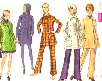 Simplicity 8451 sewing pattern Womens Car coat pants hood Vintage 60s Retro Bust 36 UNCUT