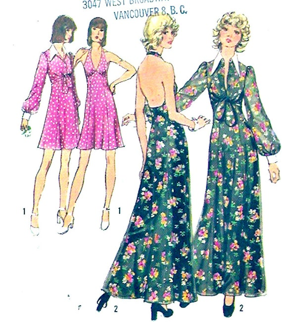 70er Jahre Neckholder Kleid Neckholder Abendkleid Grad Kleid | Etsy