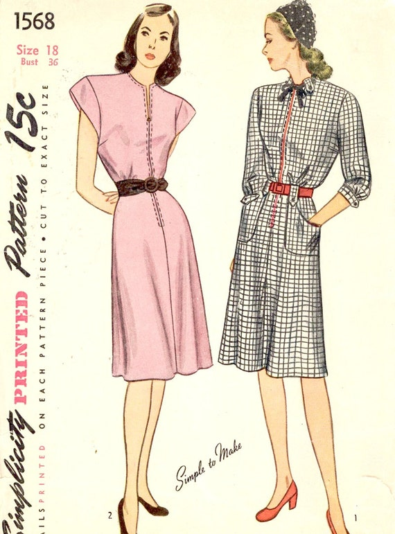 1940s dress pattern vintage one piece dress sewing pattern | Etsy