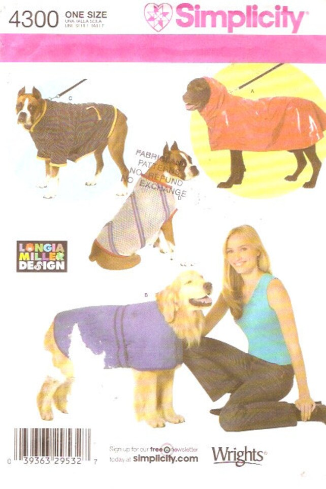 Pet Dog coats and rain slicker Longia Miller design sewing | Etsy
