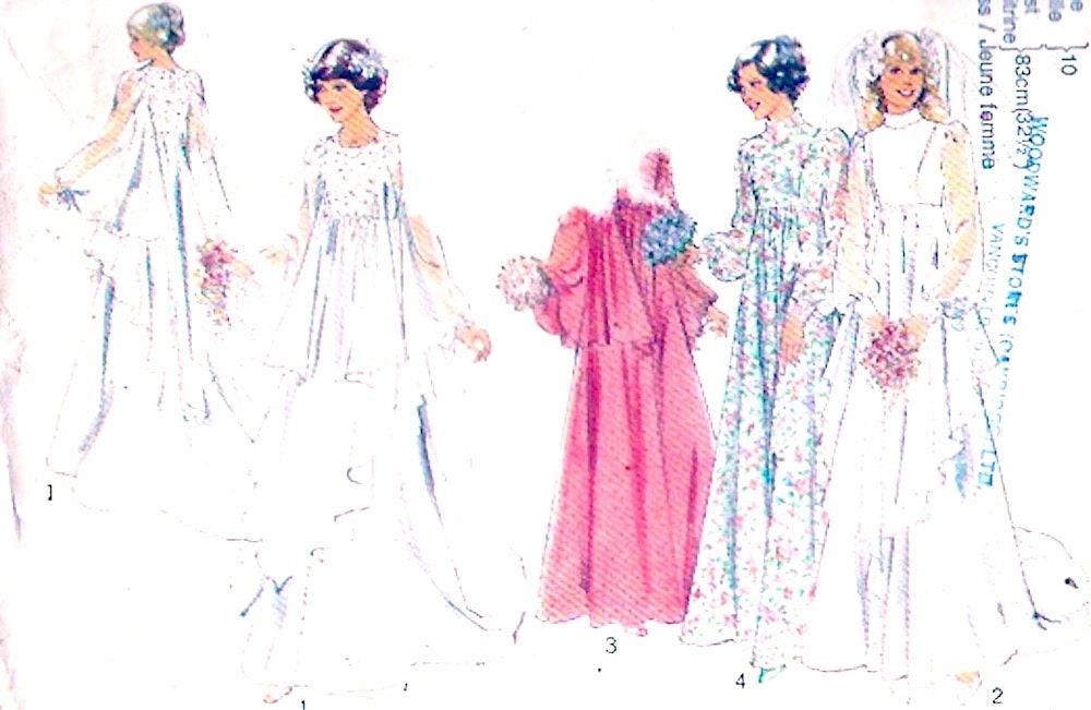 Patrón de costura vintage de boda romántica vestido años 70