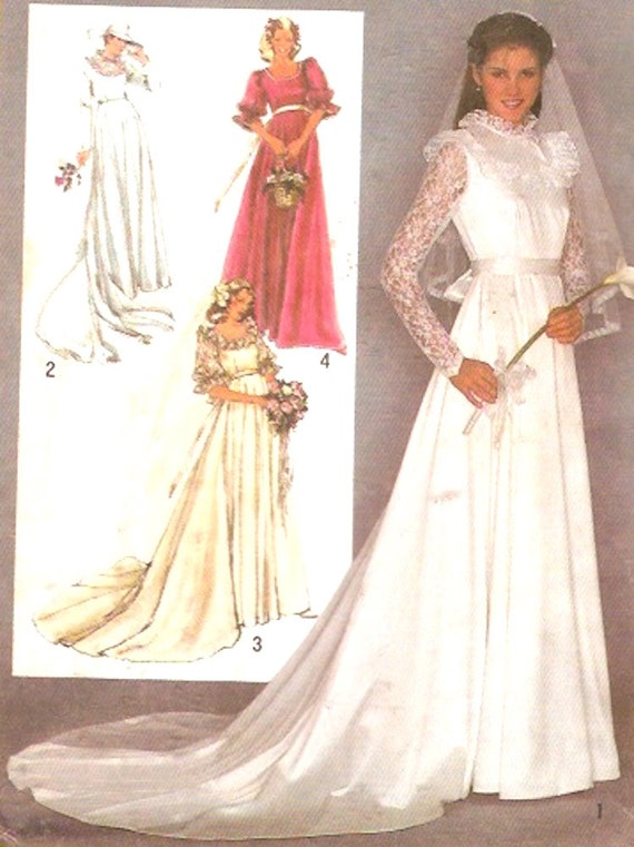 80s Wedding Dress And Bridesmaid Dresses Pattern Retro Vintage Etsy