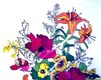 Spring Fever Floral Sunset Stitchery Kit embroidery kit Sunset Designs 2252 70s Fleurs Vintage Design Charlene Gerrish Mothers Day Unused