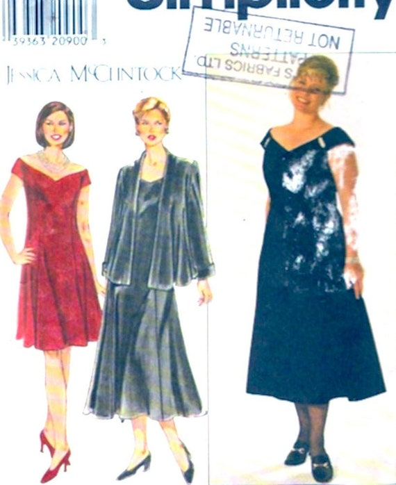Plus size dress jacket Simplicity 7857 sewing pattern Jessica McClintock Sz  18W to 24W UNCUT