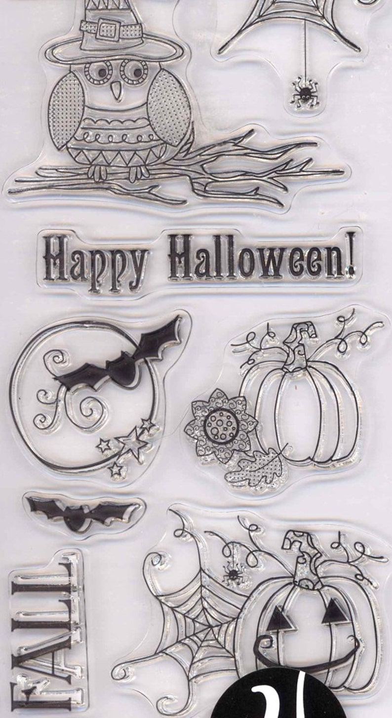 Hampton Art ~ HAPPY HALLOWEEN ~ Hot Fudge Studio Clear Stamp Set Spider Web Owl