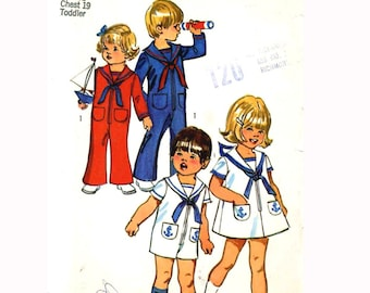 Simplicity 9947 Nautical sewing pattern 1970s era Vintage makes bell bottom jumpsuit or dress Sailor collar Size 3 cut