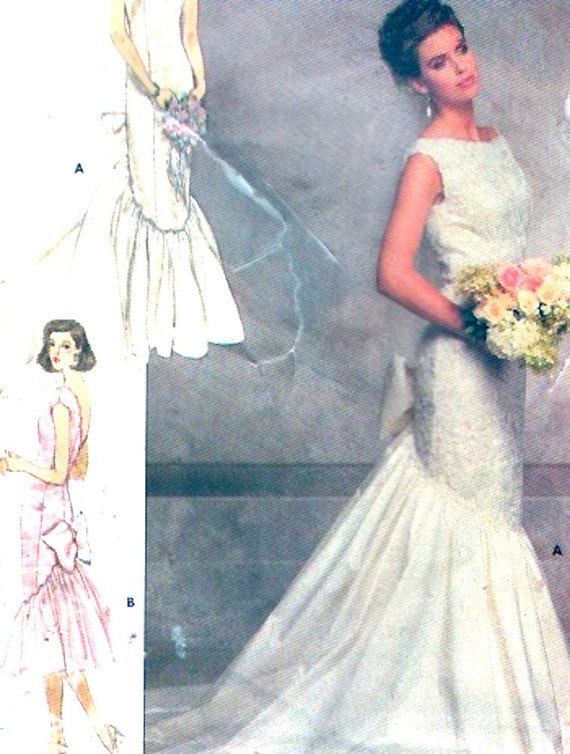 80s wedding dress Brides fishtail gown vintage sewing pattern