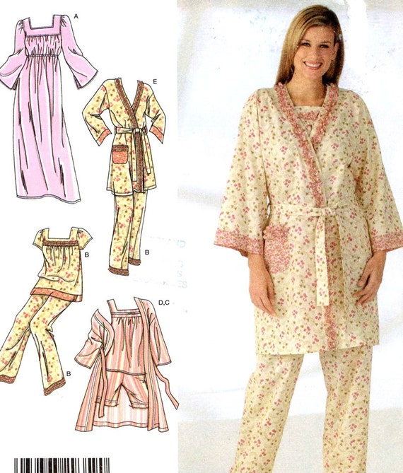 Nightgown pajamas and robe for women sewing pattern Simplicity  ecb4a5339f