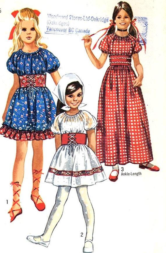 Mädchen Boho Kleid 70er Jahre Bauer Kleid kleine Heidi Kleid | Etsy