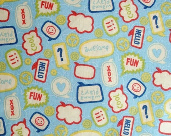 Riley Blake fabric light blue talk bubbles Fabric Quilting Cotton Yardage Sewing Supplies 2 X 2 plus yards available