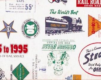 Railroad Train Fabric Osh Kosh railways Cotton Canvas Quilting Sewing Yardage 62 X 42 inches