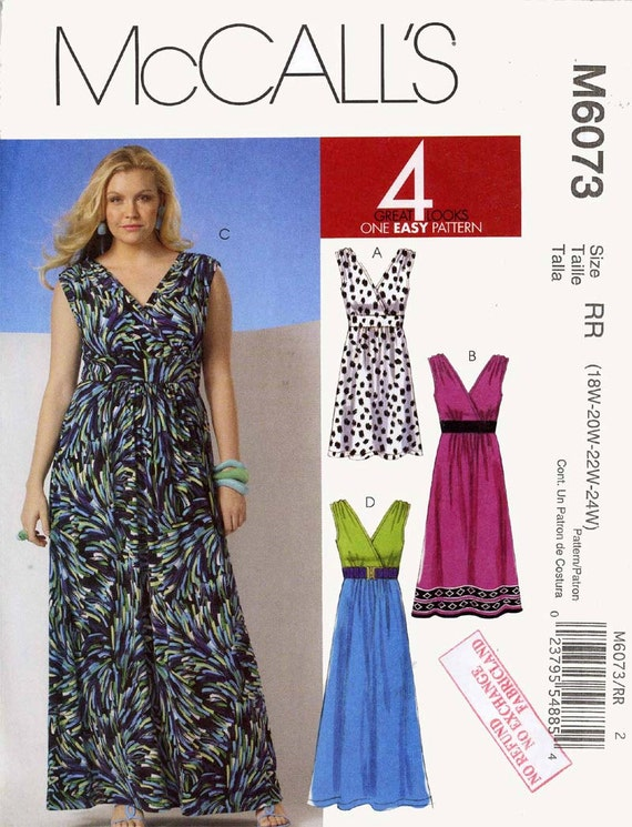 Plus Size goddess wedding evening party dress sewing pattern McCalls 6073  Bust 40 to 46 UNCUT