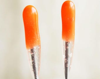2 pack ORANGE Beginner 40 star Single Point FELT ALIVE Color-Coded Felting Needles with Rubber Handles. Sturdy blade, perfect for beginners.