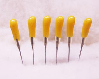 Color-Coded Felting Needles Yellow 40t All-Purpose Single Point 6 Pack -  for all types of needle felting