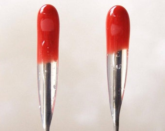 2 pack RED Multi-Purpose 38 star Single Point FELT ALIVE Color-Coded Felting Needles with Rubber Handles.  great for finishing the fuzzies.
