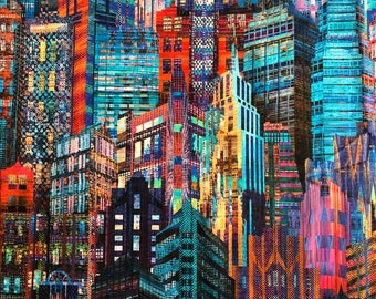 "Hoffman Skyline Cityscape Digitally Printed Panel N4234 29""x44"""