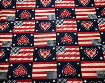 Country Classics America Vintage 1987 Hearts and Flag cotton fabric 2 1/4 yds