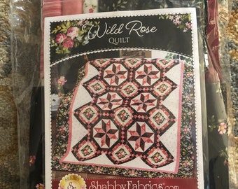 Wild Rose Quilt Kit Flannel Pattern and Fabrics