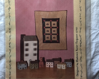 Stenciled Miniature Quilt Plain and Country House #3001 by Puss in the Corner