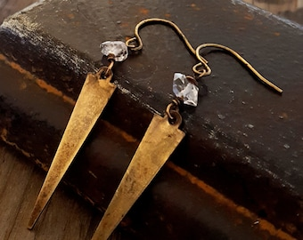 Herkimer Diamond Brass Spike Earrings, Rustic Chic Earrings, Raw Stone Quartz Crystal, Arrowhead Gold Spike, Antique Gold, Rustic Jewelry