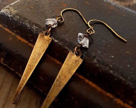 Herkimer Diamond Brass Spike Earrings, Rustic Chic Earrings, Raw Stone Quartz Crystal, Arrowhead Gold Spike, Antique Gold, Rustic Jewelry