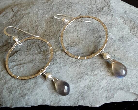 Labradorite Silver Hoop Earrings, Silver Hoop Earrings, Hoop Stone Earrings, Labradorite Jewelry, Medium Hoop, Gemstone Hoop, Silver Hoops