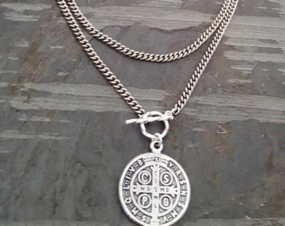 Silver St Benedict Pendant Necklace, Wrap Around Necklace, Coin Pendant, Silver Chain Pendant Necklace, Saint Religious Medal Medallion