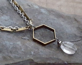 Rose Quartz Stone Necklace,  Rose Quartz Jewelry, Vintage Raw Brass and Silver, Hexagon Pendant, Brass Jewelry, Rustic Urban Mixed Metal