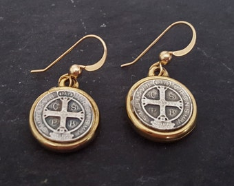Silver and Gold St Benedict Coin Earrings, Saint Benito, 14k Gold Filled, Coin Jewelry, Coin Earrings, Saint Benedict, Religious Jewelry