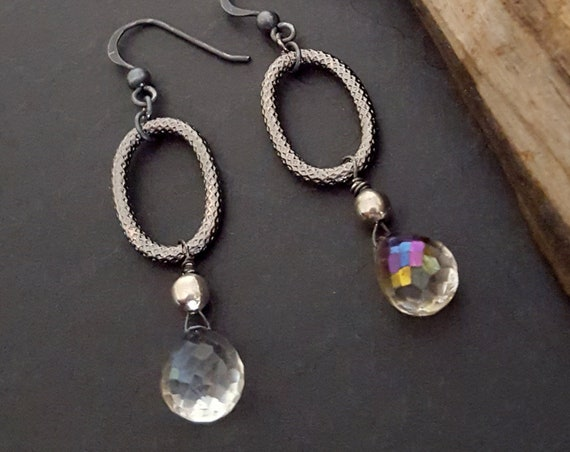 Oxidized Gemstone Artisan Earrings, Mystic Rainbow Quartz, Black Oval Hoop Earrings, Oxidized Silver, Artisan Jewelry, Mystic, Edgy Rocker