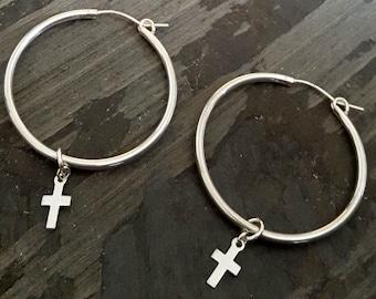 Rocker Sterling Silver Hoop Earrings, Silver Hoops, Hoop Cross Earrings, Cross Jewelry, Cross Earrings, Dangle Hoop Charm, Edgy Jewelry