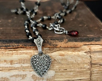Vintage Marcasite  Black Spinel Gemstone Necklace, STERLING SILVER Heart, Black Bead, Heart Jewelry, Heart Pendant, Rosary Style, by ViaLove