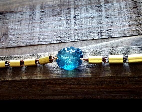 Blue Raw Stone Bracelet, Ocean Blue Quartz, Raw Quartz, Brass Chain, Wrap Around Bracelet, Rustic Gemstone Bracelet, Unique Jewelry