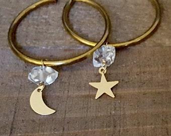Brass Hoop Dangle Earrings, Dangle Stone, Gold Hoop, Moon Star, Herkimer Diamond, Raw Crystal, Half Moon, Crescent Moon, Vintage Raw Brass