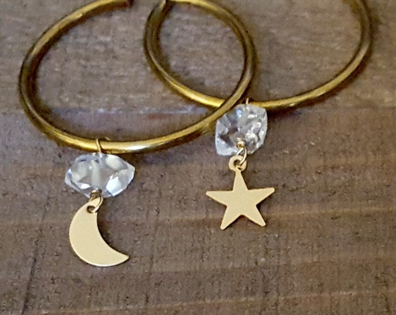 Brass Hoop Dangle Earrings, Dangle Stone, Gold Hoop, Moon Star, Herkimer Diamond, Raw Crystal, Half Moon, Crescent Moon, Vintage Raw Brass