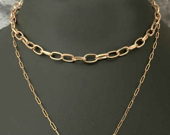 Gold Oval Link Chain Necklace, Gold Chain, Gold Layering Necklace, Gold Link Chain, Layer Chain, Gold Cable Chain, ViaLove
