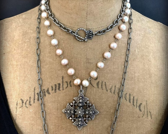 Blush Pink Freshwater Pearl Cross Statement Necklace, Antique Silver Cross Necklace, Medieval Cross, Coptic Cross, Antique Silver Cross