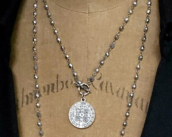 St Benedict Medal Pendant Necklace, Patron Saint Vintage Religious Jewelry, Long Silver Bead Pendant Necklace, Coin Pendant, Wrap Around
