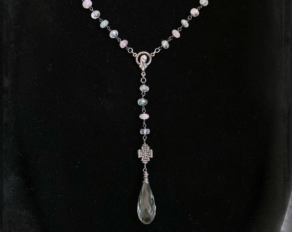 PEACEFUL SOUL - Aquamarine Rosary Necklace, Modern Rosary Necklace, Gemstone Rosary Pastel Stones, Light Green Amethyst, Virgin Mary Rosary